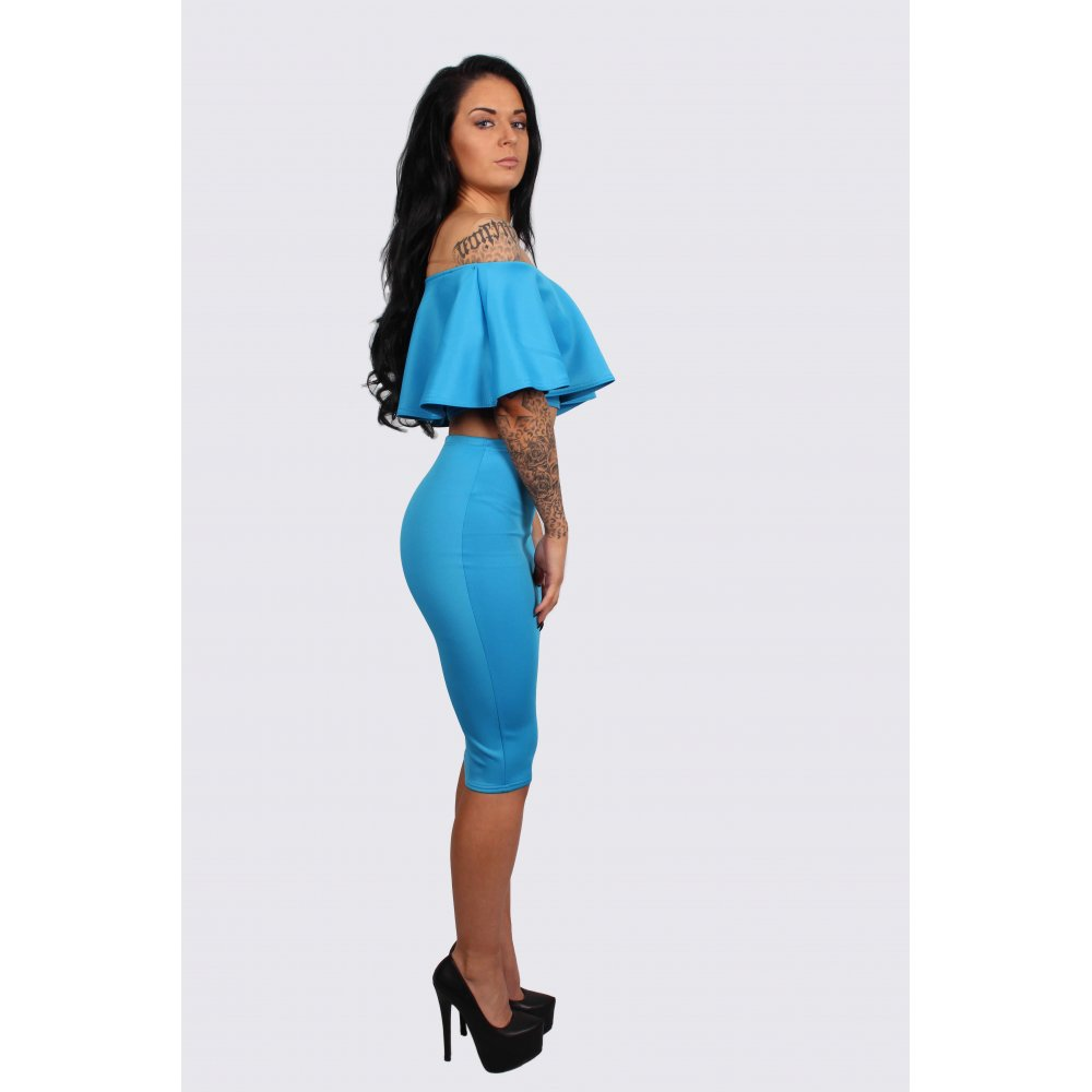 blue frill crop top and midi pencil skirt set