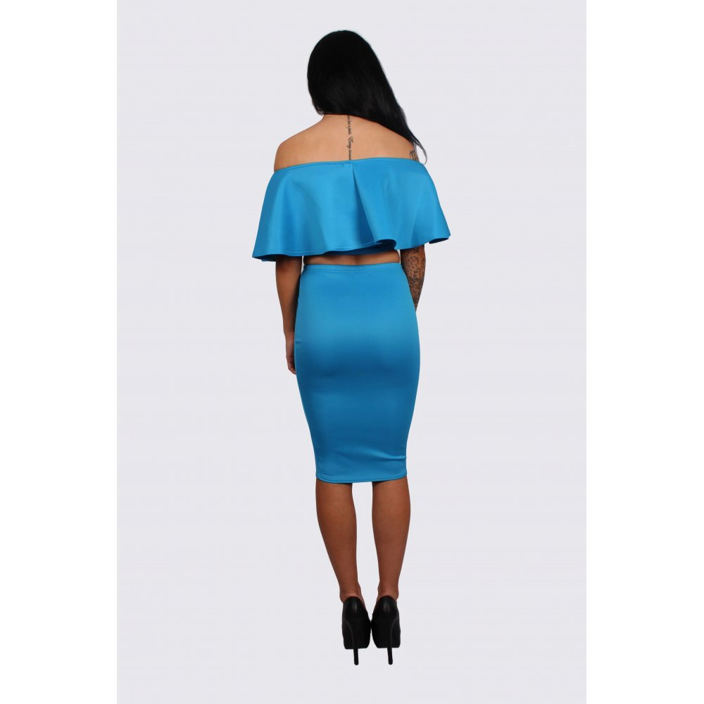 olivia blue frill crop top and midi pencil skirt set