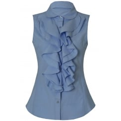 Blue Front Ruffle Sleeveless Collared Shirt