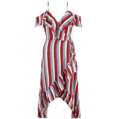 Blue Red And White Striped Cross Over Ruffled Midi Dress