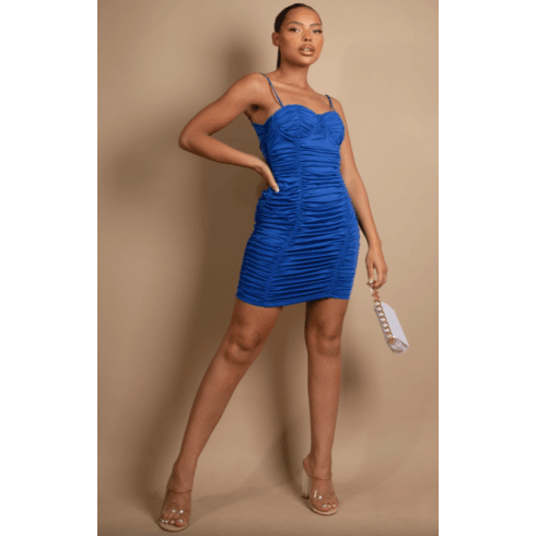 Blue Ruched Bodycon Dress