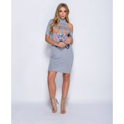 Born To Be Wild T-Shirt Dress in Grey