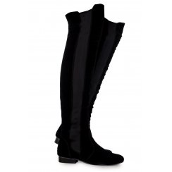 Brooke Black Faux Suede Over The Knee Boots