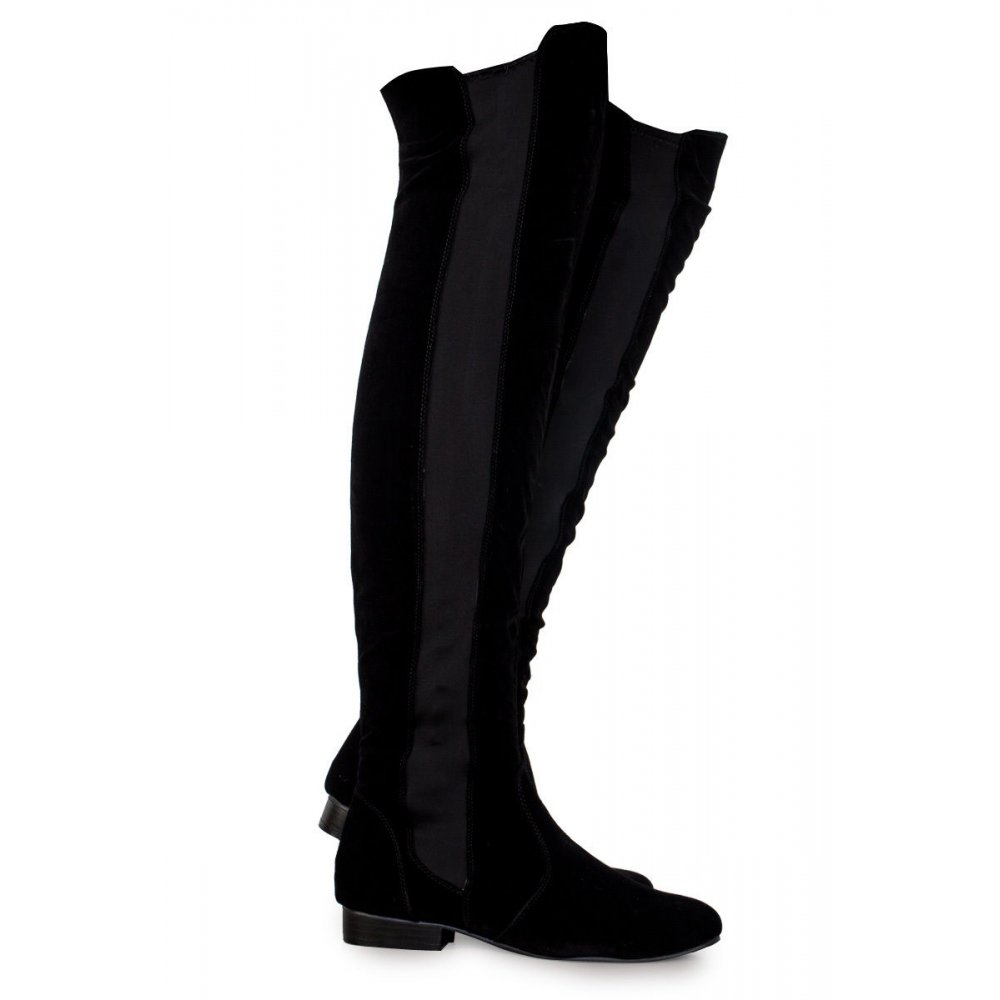 f0c9a664cca Brooke Black Faux Suede Over The Knee Boots - Parisia Fashion