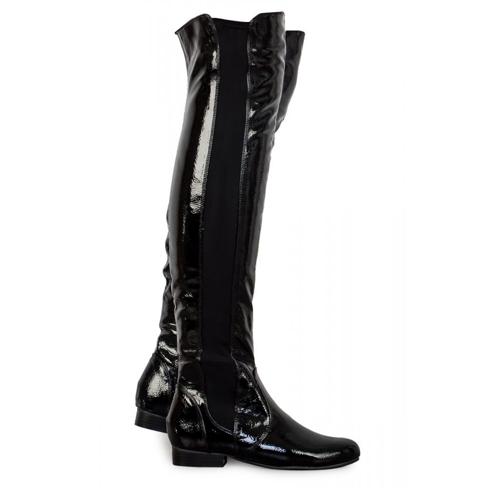 Brooke Black Patent Leather Over The Knee Boots From Parisia