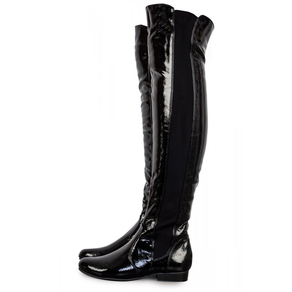 Over The Knee Patent Leather Boots - Boot Hto