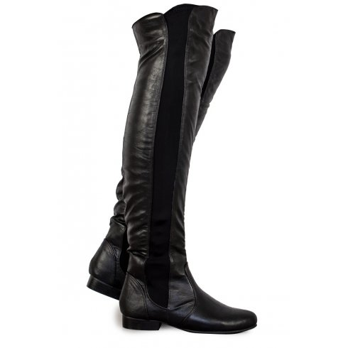 Brooke Black PU Leather Over The Knee Boots