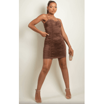 Brown Ruched Bodycon Dress