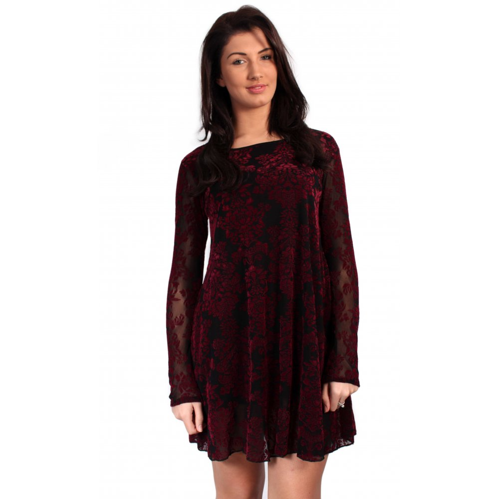 3887e007df42 Burgundy And Black Damask Lace Swing Dress From Parisia