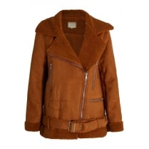 Camel Faux Suede Fur Lined Shearling Coat