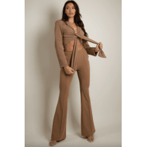 Camel Tailored Front Knotted Blazer & Fitted Flared Trouser Set