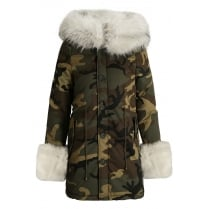 Camouflage Green Parka Coat With Cream Faux Fur Hood Trim And Cuff