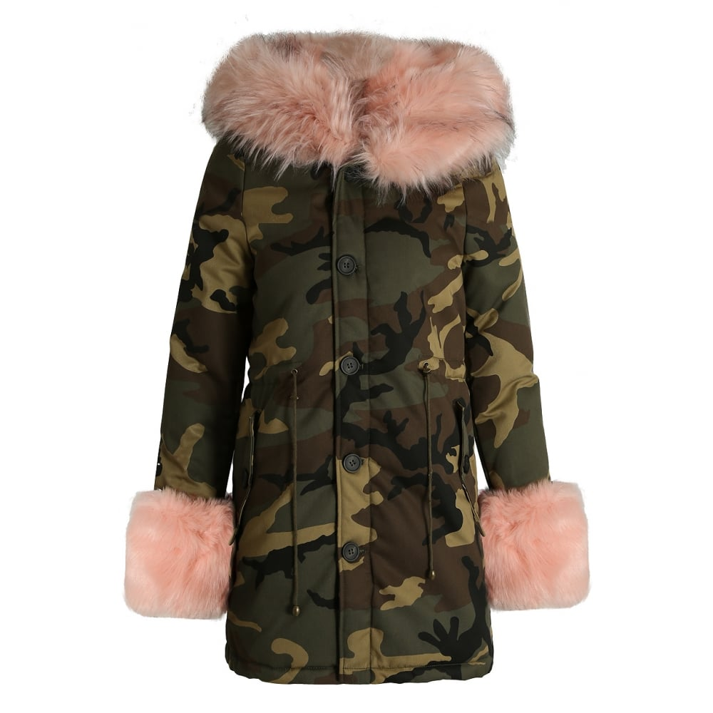 Fake Fur Trimmed On Cuffs Of Sweaters: Camouflage Green Parker Coat With Pink Faux Fur Hood Trim