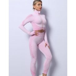 Candy Pink 3pc Crop Top Crop Jacket Leggings Gym Set Co-ord