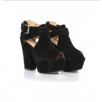 Charlie Black chunky cut out platforms