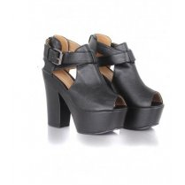 Charlie Black Leather Chunky Wedges