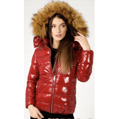 Cherry Red Shiny Faux Fur Hood Bomber Puffer Coat