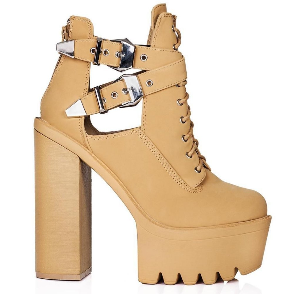 beige cut out high heel ankle boots parisia fashion
