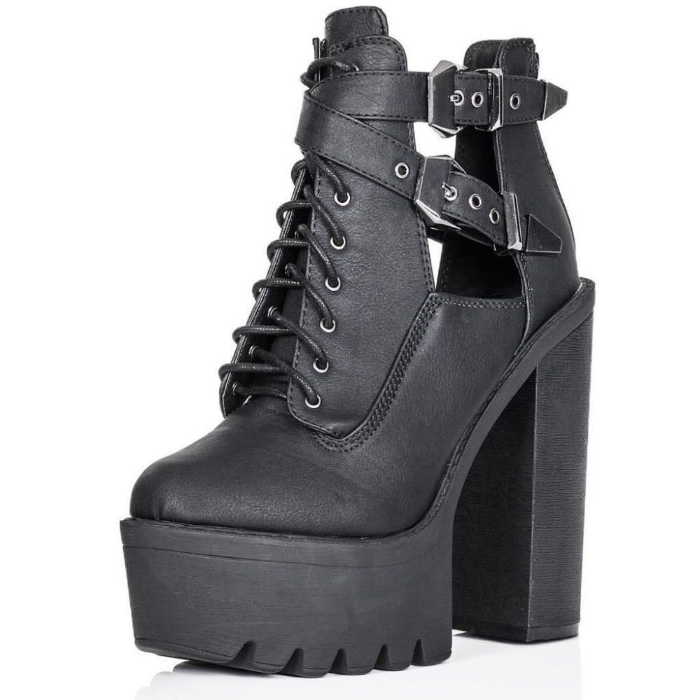 62a230f1e22 Chloe Black Cut Out High Heel Ankle Boots