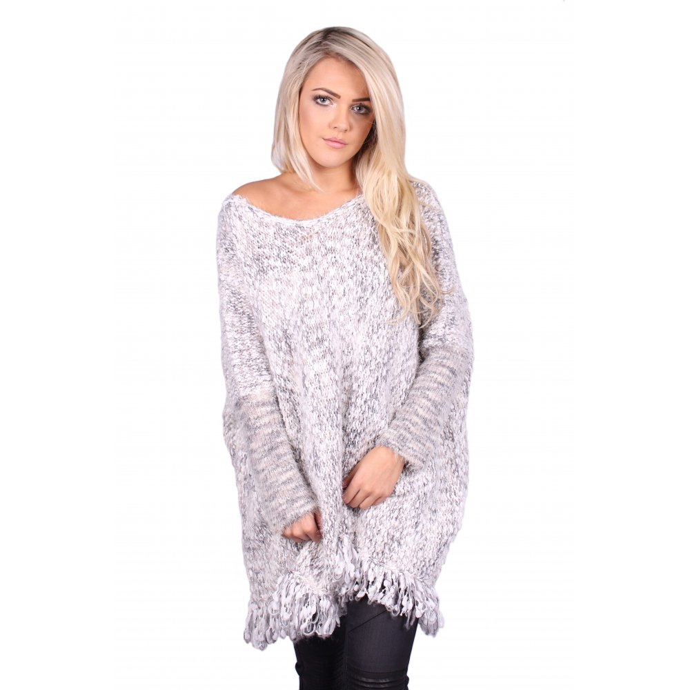 Christy Knitted Grey Oversized Jumper - Parisia Fashion