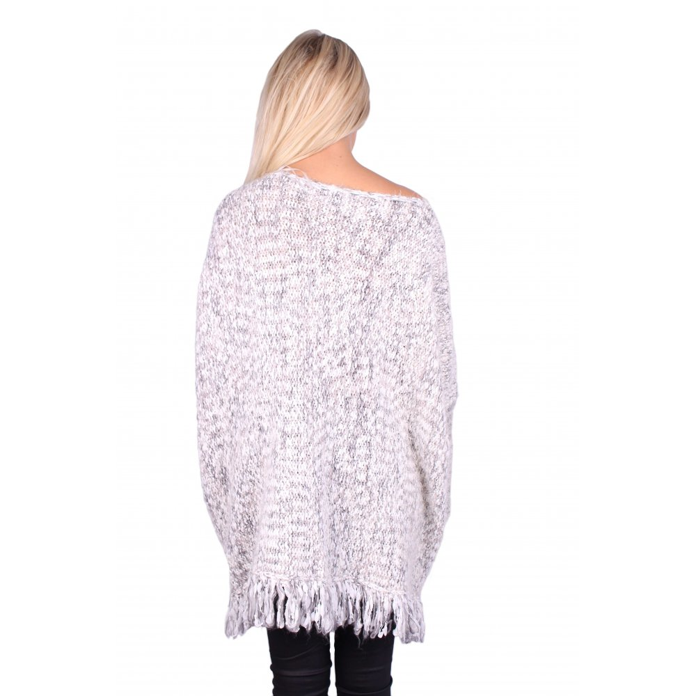 Oversized Jumper Knitting Pattern : Christy Knitted Grey Oversized Jumper - Parisia Fashion