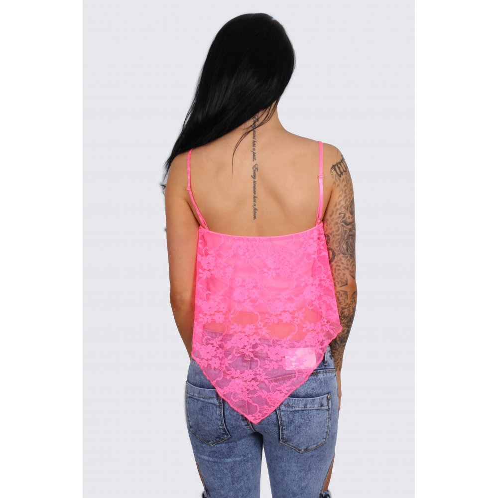 Cindy Hot Pink Lace Cropped Top - Parisia Fashion