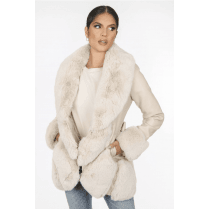 Cream Faux Fur And PU Leather Fur Cuff Waist Tie Belt Coat