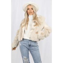 Cream Faux Fur PU Leather Fur Arm Zip Up Coat