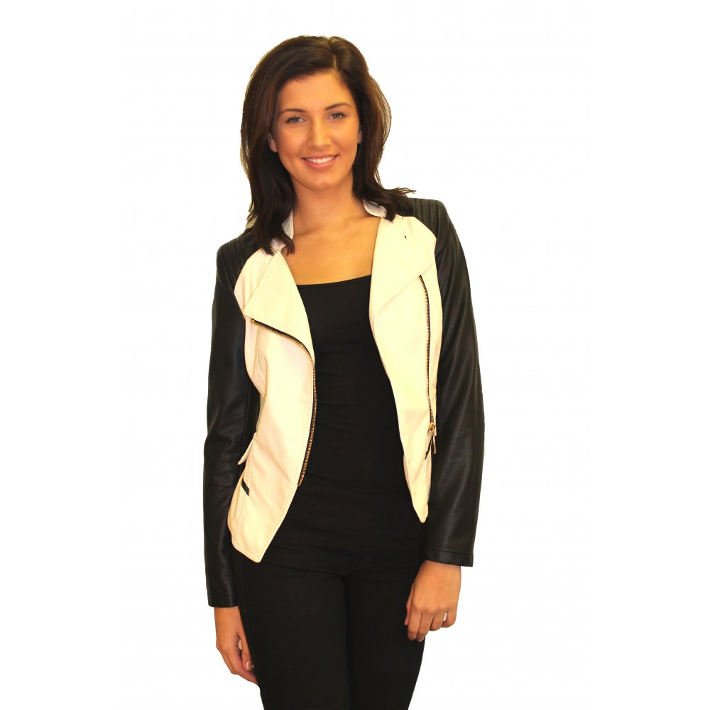 Cream jacket black leather sleeves – Modern fashion jacket photo blog