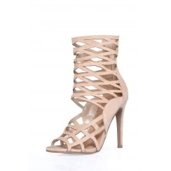 Cream Faux Suede High Caged Cut Out High Stiletto Heels