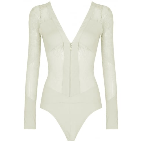 Cream Floral Mesh Open Back Zip Up Bodysuit
