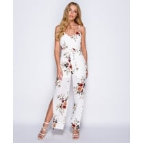 Cream Floral Print Double Slit Waist Belt Jumpsuit