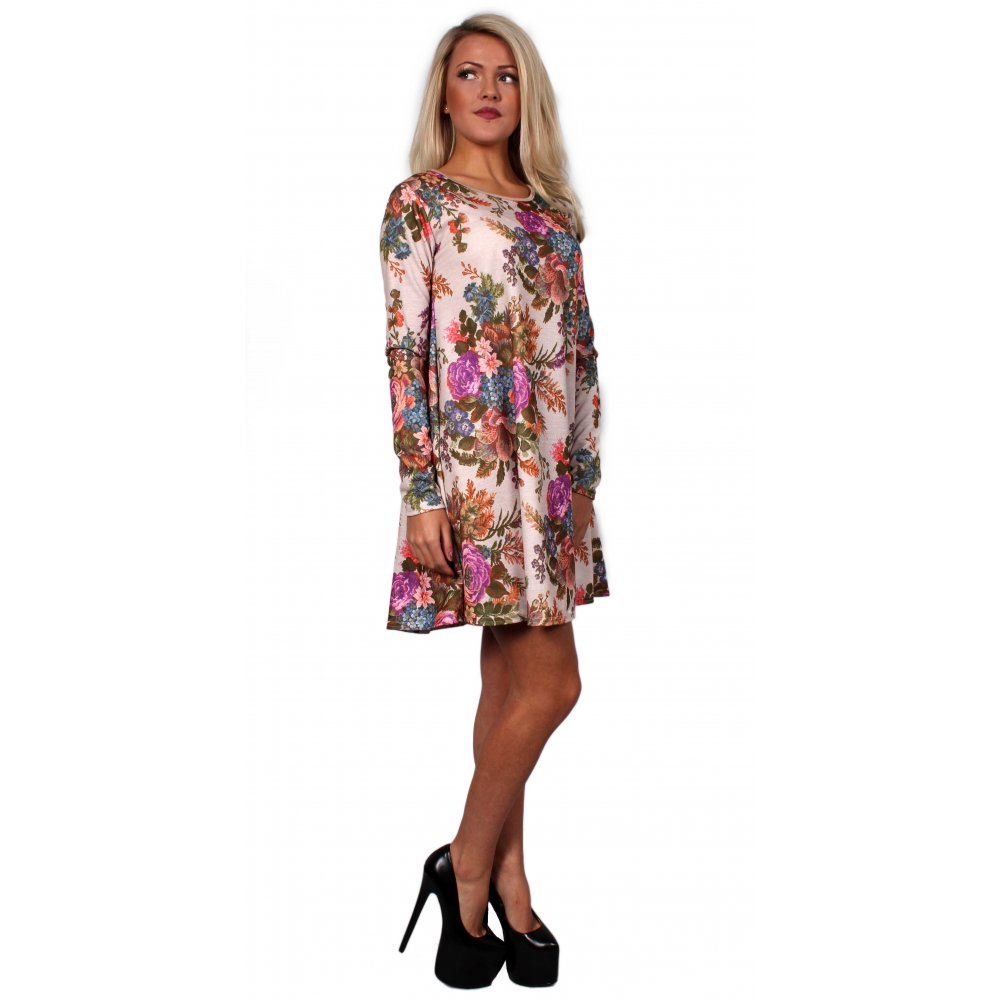Cream Floral Swing Dress From Parisia