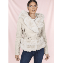 Cream Hooded PU Leather Coat With Cream Faux Fur Hem Collar Buckle Belt
