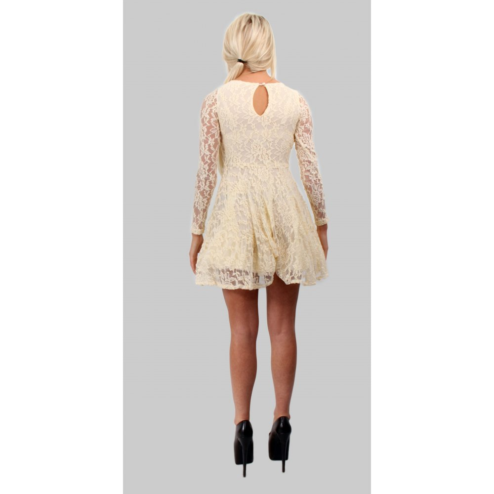 Long sleeve cream lace skater dress