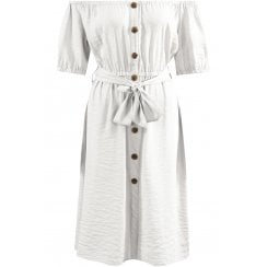 Cream Off Shoulder Button Up Front Front Tie Belt Dress