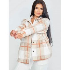 Cream Orange And Beige Checked Button Up Oversized Shirt Jacket Shacket