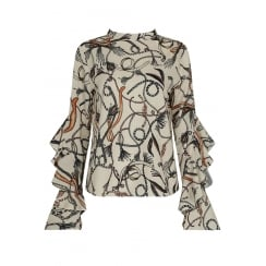 Cream Paisley Contrast Print Frilled Sleeve Top