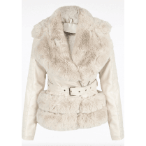 Cream PU Leather Coat With Cream Faux Fur Hem Collar Buckle Belt