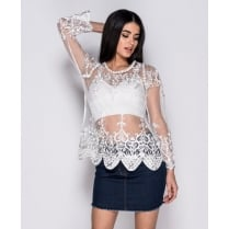 Cream/White Floral Lace Mesh Long Sleeve See Through Blouse Top