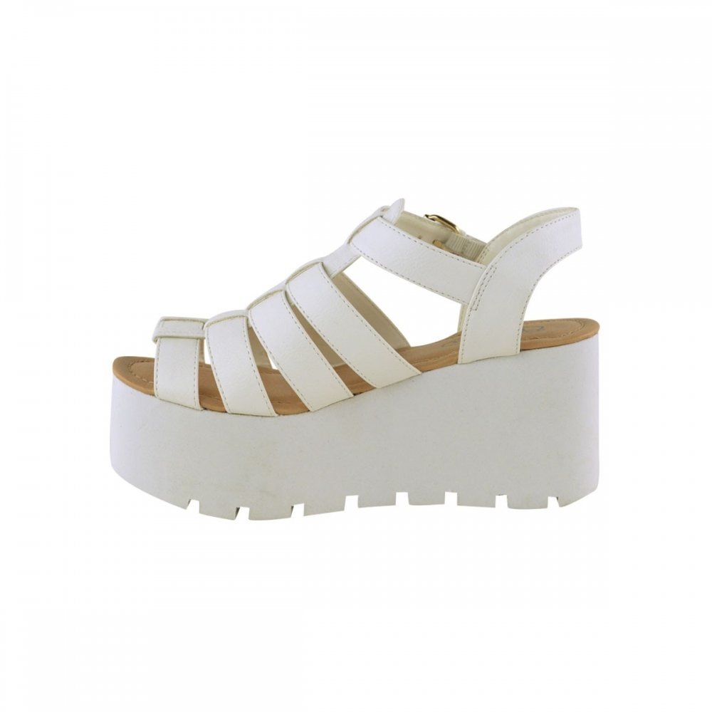 a9fd203658d Darcy White Side Buckle Flatform Cut Out Wedges From Parisia Fashion