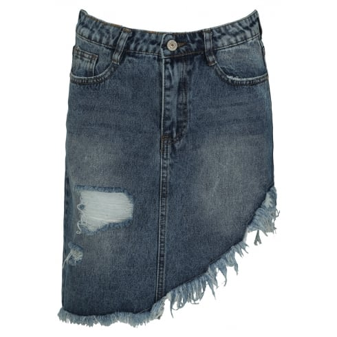 Dark Blue Acid Wash Asymmetric Dip Hem Denim Skirt