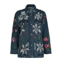Dark Blue Floral Embroidered Denim Jacket