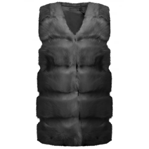 Dark Grey Layered Faux Fur Gilet Sleeveless Coat