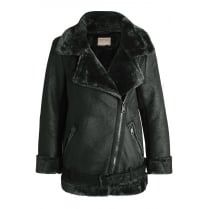 Dark Grey PU Leather Faux Fur Lined Collared Coat