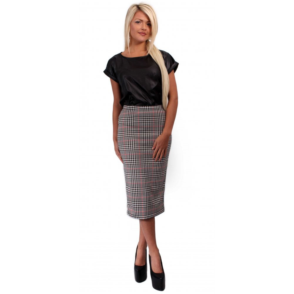f6f56d64e839 Dogtooth Checked Bodycon Midi Skirt From Parisia