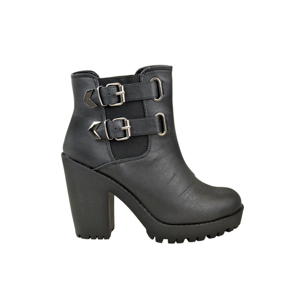 side buckle chelsea black heel ankle boots