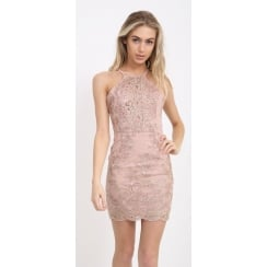 Dusky Pink And Gold Floral Lace Open Back Tie Back Bodycon Dress