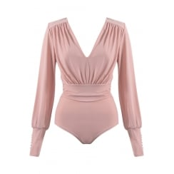 Dusky Pink Bodysuit Long sleeve Button cuff  Plunge neckline