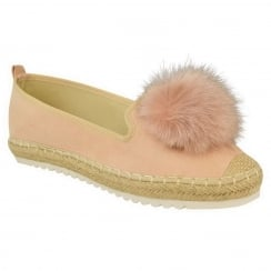 Dusky Pink Faux Suede Pom Pom Casual Shoes
